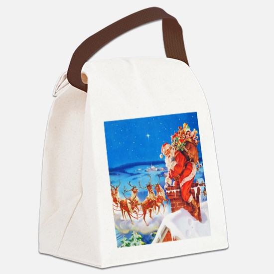 Santa and His Reindeer Up On a Sn Canvas Lunch Bag