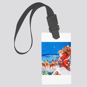 Santa and His Reindeer Up On a S Large Luggage Tag