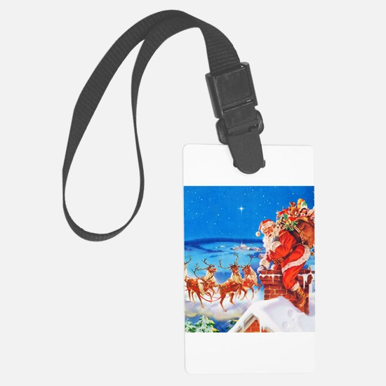 Santa and His Reindeer Up On a S Luggage Tag