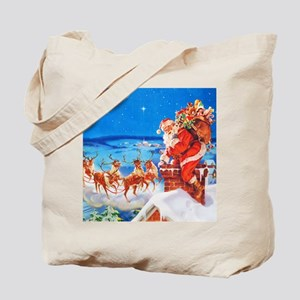 Santa and His Reindeer Up On a Snowy Roof Tote Bag