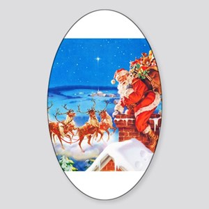 Santa and His Reindeer Up On a Snow Sticker (Oval)