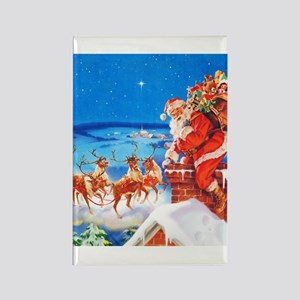 Santa and His Reindeer Up On a Sn Rectangle Magnet