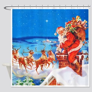 Santa and His Reindeer Up On a Snow Shower Curtain