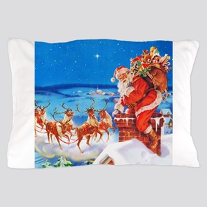 Santa and His Reindeer Up On a Snowy R Pillow Case