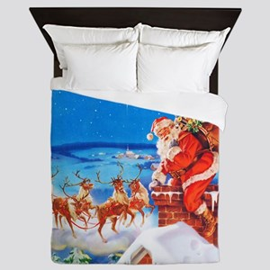 Santa and His Reindeer Up On a Snowy R Queen Duvet