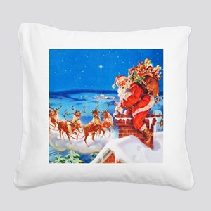 Santa and His Reindeer Up On Square Canvas Pillow