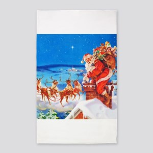 Santa and His Reindeer Up On a Snowy Roof Area Rug