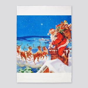 Santa and His Reindeer Up On a Snow 5'x7'Area Rug