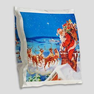 Santa and His Reindeer Up On a Burlap Throw Pillow
