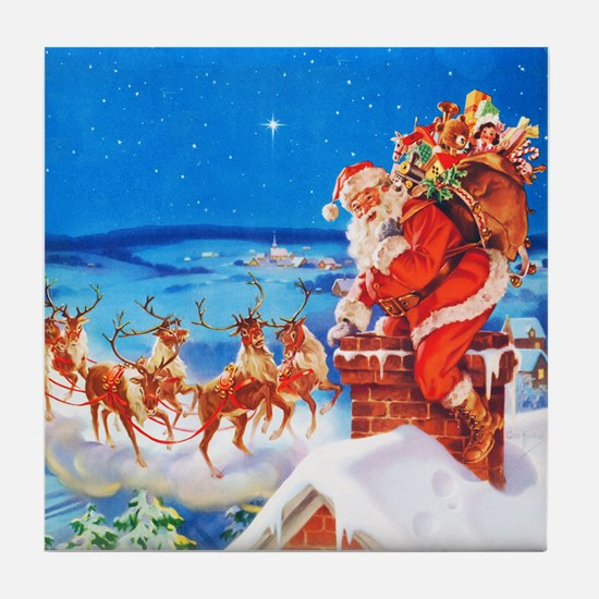Santa and His Reindeer Up On a Snowy Tile Coaster