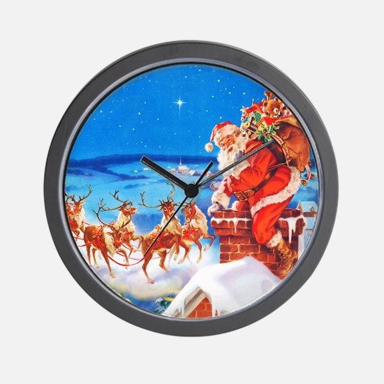 Santa and His Reindeer Up On a Snowy Ro Wall Clock