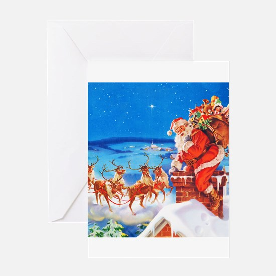 Santa and His Reindeer Up On a Snowy Greeting Card