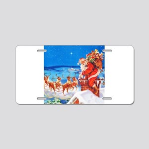 Santa and His Reindeer Up O Aluminum License Plate