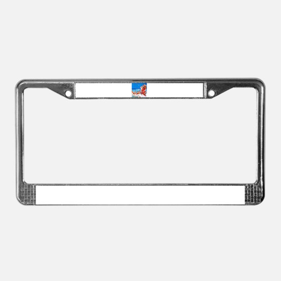 Santa and His Reindeer Up On a License Plate Frame