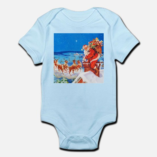 Santa and His Reindeer Up On a Sno Infant Bodysuit