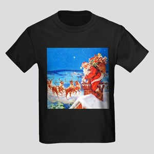 Santa and His Reindeer Up On a S Kids Dark T-Shirt