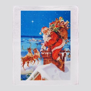 Santa Claus and His Reindeer Up On a Throw Blanket