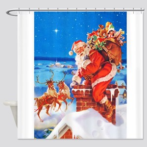 Santa Claus and His Reindeer Up On Shower Curtain