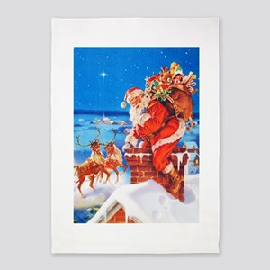 Santa Claus and His Reindeer Up On 5'x7'Area Rug