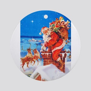 Santa Claus and His Reindeer Up On Round Ornament