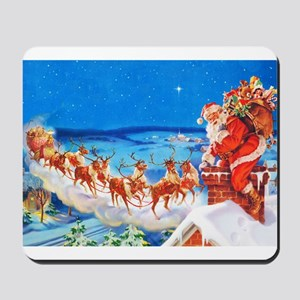 Santa Claus and His Reindeer Up On a Sno Mousepad