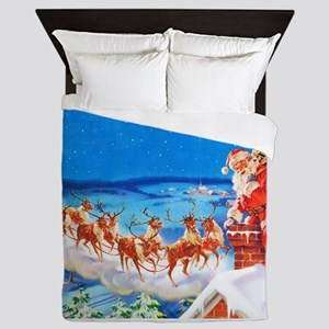 Santa Claus and His Reindeer Up On a S Queen Duvet