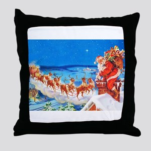 Santa Claus and His Reindeer Up On a Throw Pillow