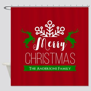 Red and Green Custom Christmas Fami Shower Curtain
