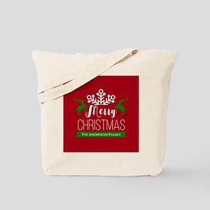 Red and Green Custom Christmas Family Tote Bag