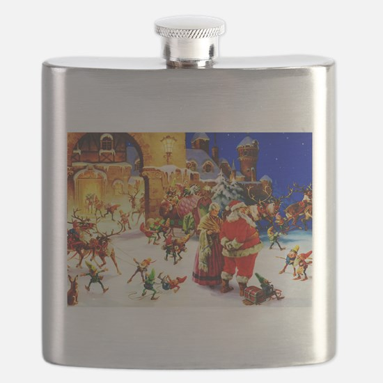 Santa and Mrs. Claus At The North Pole on Ch Flask