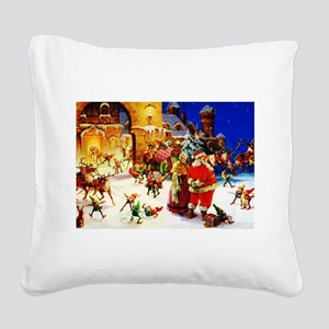 Santa and Mrs. Claus At The N Square Canvas Pillow