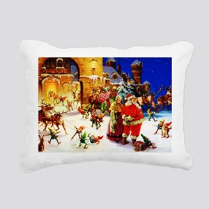 Santa and Mrs. Claus At Rectangular Canvas Pillow