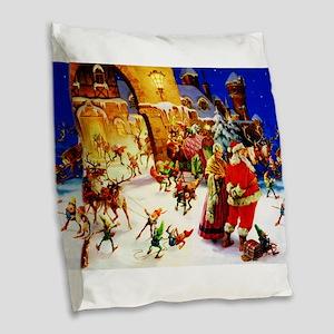 Santa and Mrs. Claus At The No Burlap Throw Pillow