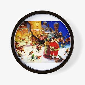 Santa and Mrs. Claus At The North Pole Wall Clock