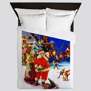 Santa and Mrs. Claus At The North Pole Queen Duvet