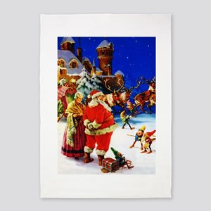 Santa and Mrs. Claus At The North P 5'x7'Area Rug