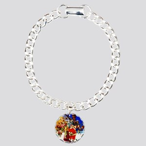 Santa and Mrs. Claus At Charm Bracelet, One Charm