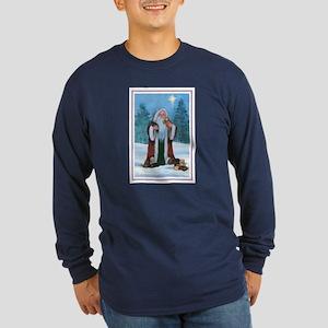 Santa with Labs Long Sleeve Dark T-Shirt