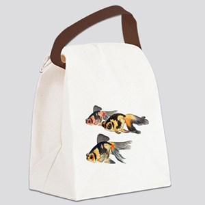 Three Watercolor Fantail Goldfish Canvas Lunch Bag