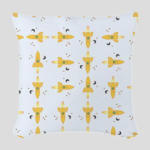 Spaceships pattern Woven Throw Pillow