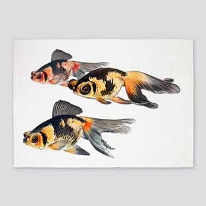 Three Watercolor Fantail Goldfish 5'x7'Area Rug
