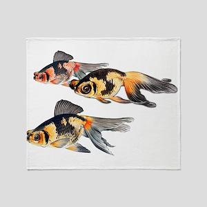 Three Watercolor Fantail Goldfish Throw Blanket