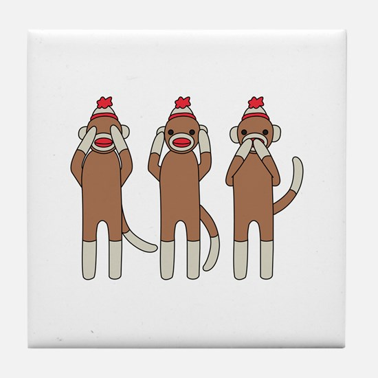 Three Monkeys Tile Coaster