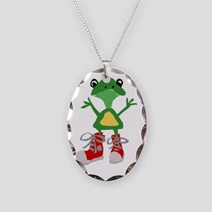 Frog in Red Sneakers Necklace Oval Charm