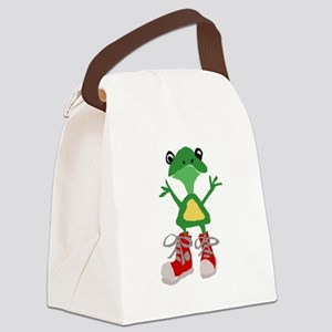 Frog in Red Sneakers Canvas Lunch Bag