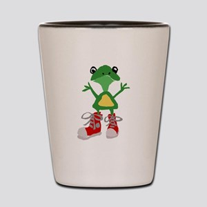Frog in Red Sneakers Shot Glass