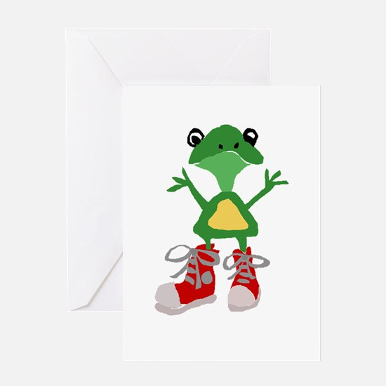 Frog in Red Sneakers Greeting Cards