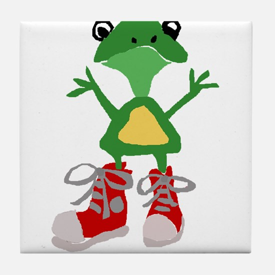 Frog in Red Sneakers Tile Coaster