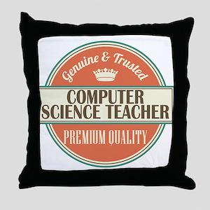 computer science teacher vintage logo Throw Pillow