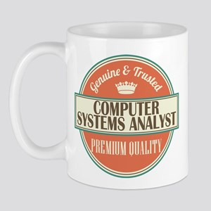 computer systems analyst vintage logo Mug